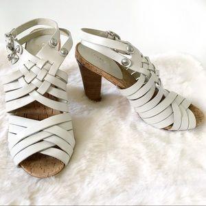 Coach Adrienn Cream Woven Sandal Heels